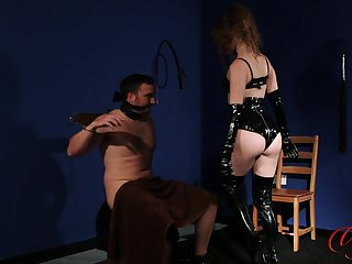 Dirty dominant wife Brook Logan tied up her hubby to torture him