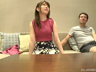 Amateur POV video be fitting of beautiful Japanese girl Arimura Nozomi giving a BJ