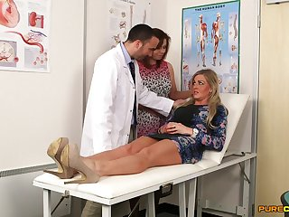 Naughty doctor gets his dick stroked away from Charlie Holays & Lissa Love