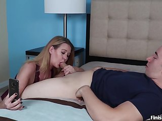 Improper MILF Grace Evangeline gives an unconventional blowjob