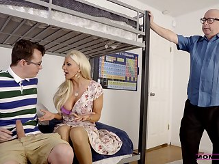 Blonde MILF fucks stepson before going to code of practice