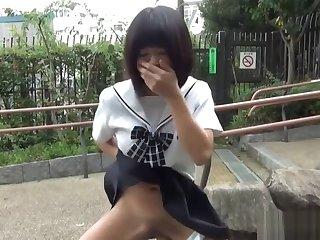 Asian teen rides dildo