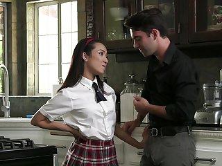 Energized schoolgirl goes full mode on stepdad's dick