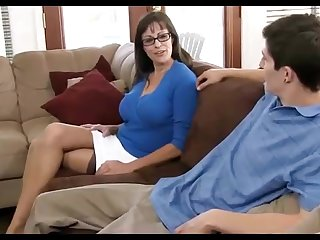 Sulky haired matriarch loves wearing ebony pantyhose, while hotwife on her hubby in the living apartment